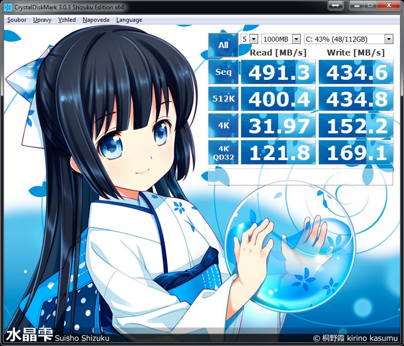 Test rychlosti v defaultním nastavení programu CrystalDiskMark. 120 GB OCZ-VERTEX460A