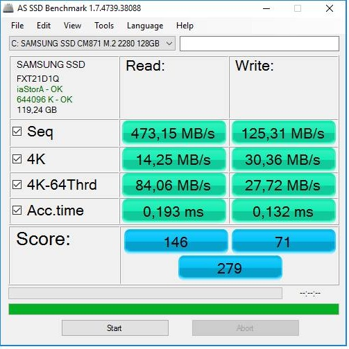 SAMSUNG SSD CM871 M.2 2280 128GB-rychlost (speed)_AS SSD BENCHMARK