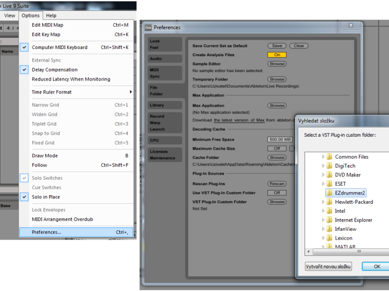 Preferences VST Plug-In FIle FOlder