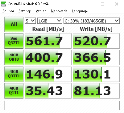 500GB SSD Crucial MX500 SATA 2,5″ 7mm – test rychlosti (speed test)